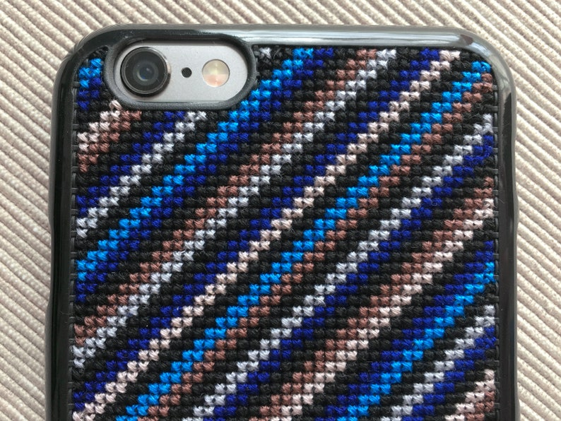 new style 6af22 0ee59 Free Shipping! Made-to-Order Cross Stitch Phone Case for iPhone 6/6S &  iPhone 7 Plus with Diagonal Lines