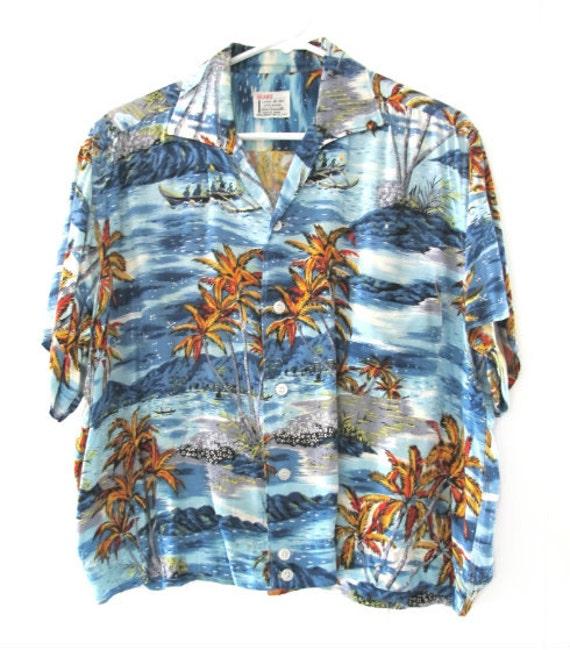 Vintage 50's Sears Rayon Hawaiian Aloha Short Slee