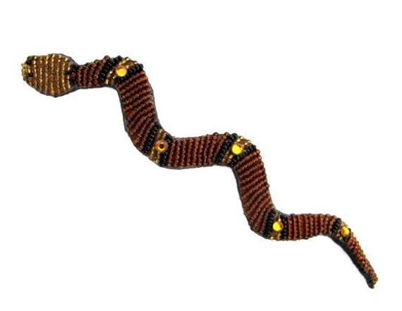 Vintage Mary B Hetz Beaded Snake Serpent Brooch Pi