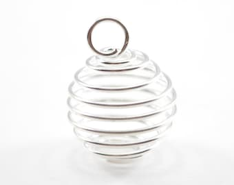 10pcs - 15mm Silver Plated Spiral Bead Cage C10