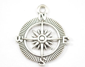 10 Silver Compass Charm - 30mm x 25mm - Travelling - Bulk - Wholesale - Bracelet Charms- Travel - Jewelry Supplies b64