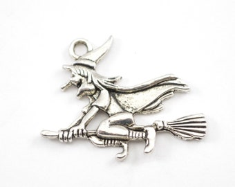 5pcs - Silver Halloween Witch on a Broomstick Charms - Charms - Jewelry B-28