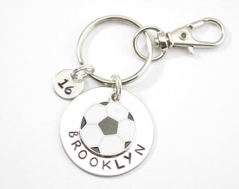 Personalized soccer keychain, soccer gift, team gift, girl's boy's soccer ball, hand stamped, name key chain, custom stamped, personalized