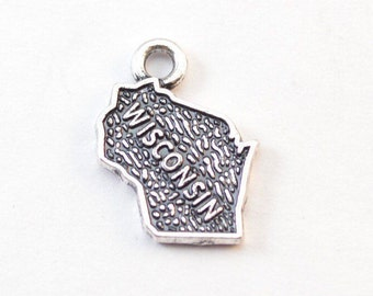 4 Wisconsin charms antique silver tone WT157