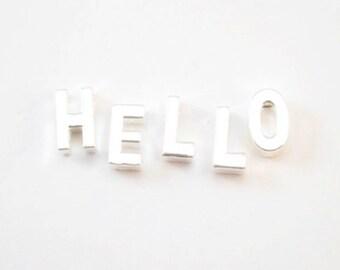 10 mm première lettre alphabet strass Slide Charm À faire soi-même Bijoux Bling Strass