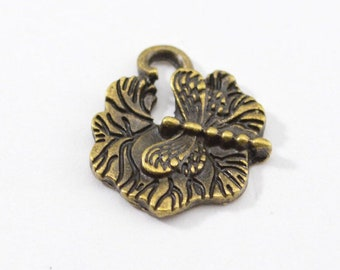 10pcs - Antique Bronze Dragonfly and Lily Pad Charms - 18mm - Bulk - Wholesale - Bracelet Charms - WB13