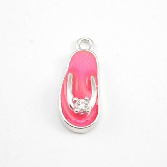 Silver and Pink Sandal charm 10pcs Flip