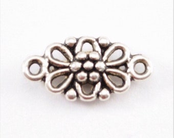 Silver Flower Connector Charms - 10pcs - 16mm x 8mm etsy - DIY Jewelry - Bulk Charms - Bracelet Charm Necklace Charm in Bulk d210