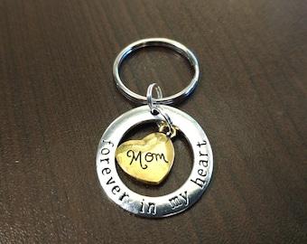 Mom Forever in My Heart Key Chain - Remember Mom - Love Mom - Memorium - Keychain