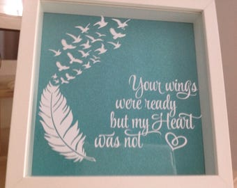 Your Wings Were Ready - White Shadow Box in Teal