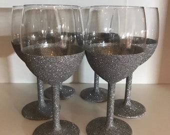 Silver Glitter, Wine Glasses, Silver, Glitter Wine Glasses, set 6, MADE TO ORDER