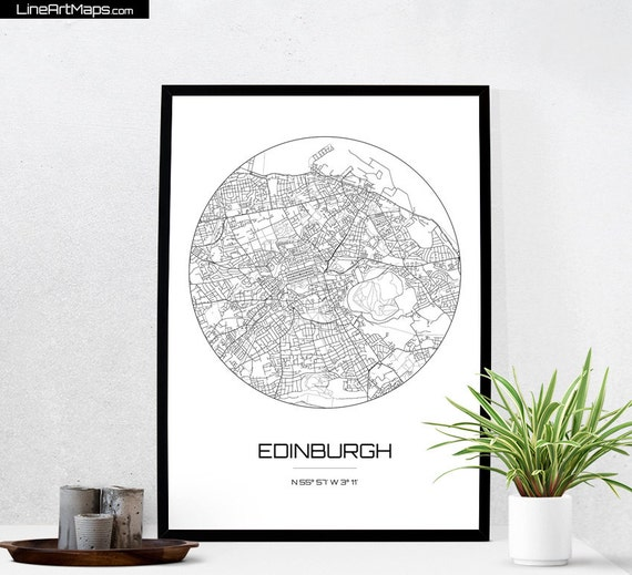 Edinburgh Map Print Wall Art Wall Art Decor Edinburgh Map Edinburgh Map Print City Map Wall Art Travel Poster