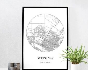 Winnipeg Map Print - City Map Art of Winnipeg Canada Poster - Coordinates Wall Art Gift - Travel Map - Office Home Decor