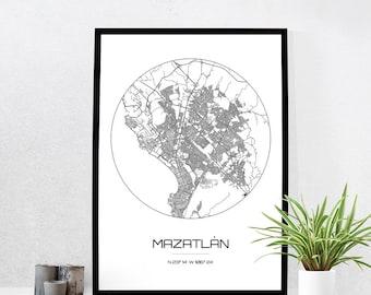Mazatlan Map Print - City Map Art of Mazatlan Mexico Poster - Coordinates Wall Art Gift - Travel Map - Office Home Decor