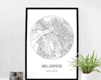 Belgrade Map Print - City Map Art of Belgrade Serbia Poster - Coordinates Wall Art Gift - Travel Map - Office Home Decor