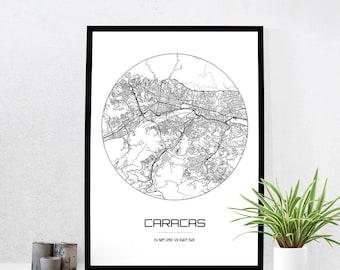 Caracas Map Print - City Map Art of Caracas Venezuela Poster - Coordinates Wall Art Gift - Travel Map - Office Home Decor