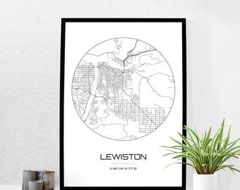 Lewiston Map Print - City Map Art of Lewiston Idaho Poster - Coordinates Wall Art Gift - Travel Map - Office Home Decor
