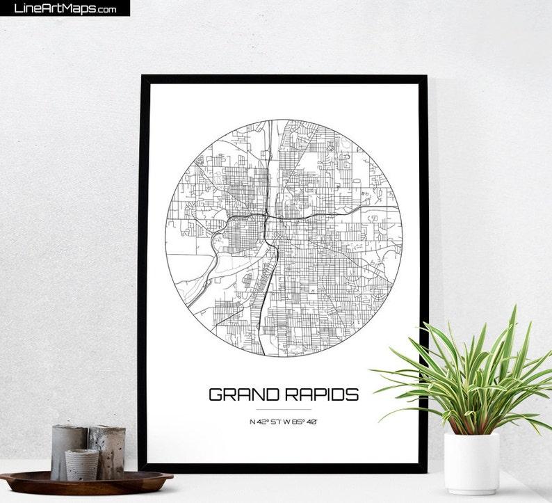 Grand Rapids Map Print City Art Of Michigan