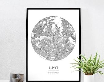 Lima Map Print - City Map Art of Lima Peru Poster - Coordinates Wall Art Gift - Travel Map - Office Home Decor