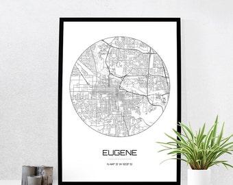 Eugene Map Print - City Map Art of Eugene Oregon Poster - Coordinates Wall Art Gift - Travel Map - Office Home Decor