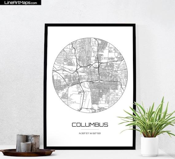 Columbus Map Print City Map Art Of Columbus Ohio Poster
