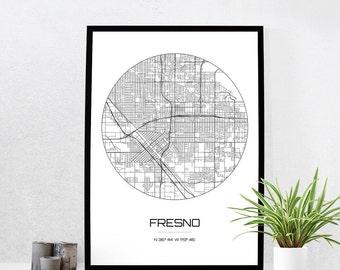 Fresno Map Print - City Map Art of Fresno California Poster - Coordinates Wall Art Gift - Travel Map - Office Home Decor