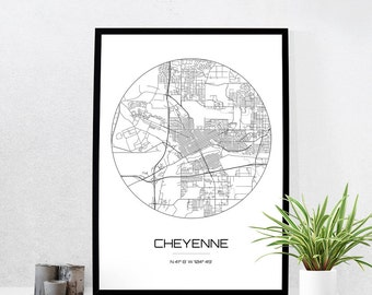 Cheyenne Map Print - City Map Art of Cheyenne Wyoming Poster - Coordinates Wall Art Gift - Travel Map - Office Home Decor