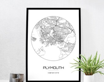 Plymouth Map Print - City Map Art of Plymouth England Poster - Coordinates Wall Art Gift - Travel Map - Office Home Decor