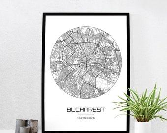 Bucharest Map Print - City Map Art of Bucharest Romania Poster - Coordinates Wall Art Gift - Travel Map - Office Home Decor