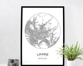 La Paz Map Print - City Map Art of La Paz Bolivia Poster - Coordinates Wall Art Gift - Travel Map - Office Home Decor