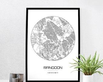 Rangoon Map Print - City Map Art of Rangoon Myanmar Poster - Coordinates Wall Art Gift - Travel Map - Office Home Decor