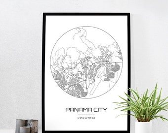 Panama City Map Print - City Map Art of Panama City Panama Poster - Coordinates Wall Art Gift - Travel Map - Office Home Decor