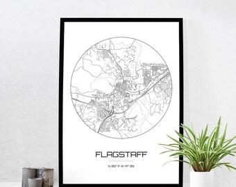 Flagstaff Map Print - City Map Art of Flagstaff Arizona Poster - Coordinates Wall Art Gift - Travel Map - Office Home Decor