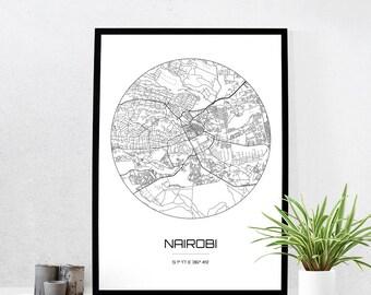 Nairobi Map Print - City Map Art of Nairobi Kenya Poster - Coordinates Wall Art Gift - Travel Map - Office Home Decor