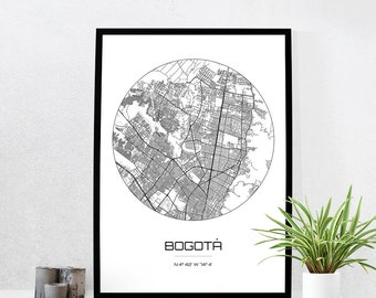 Bogota Map Print - City Map Art of Bogota Colombia Poster - Coordinates Wall Art Gift - Travel Map - Office Home Decor