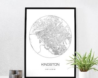 Kingston Map Print - City Map Art of Kingston Jamaica Poster - Coordinates Wall Art Gift - Travel Map - Office Home Decor