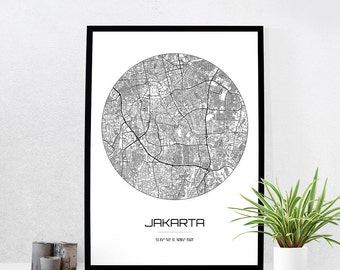 Jakarta Map Print - City Map Art of Jakarta Indonesia Poster - Coordinates Wall Art Gift - Travel Map - Office Home Decor