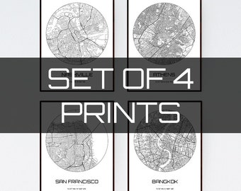 Set of 4 City Maps - Multiprint Discount - Any City in The world
