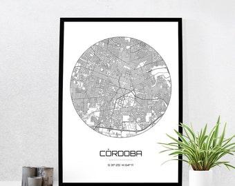 Cordoba Map Print - City Map Art of Cordoba Argentina Poster - Coordinates Wall Art Gift - Travel Map - Office Home Decor