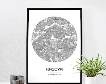 Nagoya Map Print - City Map Art of Nagoya Japan Poster - Coordinates Wall Art Gift - Travel Map - Office Home Decor
