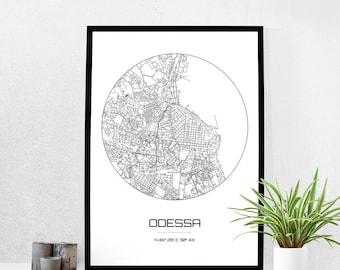 Odessa Map Print - City Map Art of Odessa Ukraine Poster - Coordinates Wall Art Gift - Travel Map - Office Home Decor