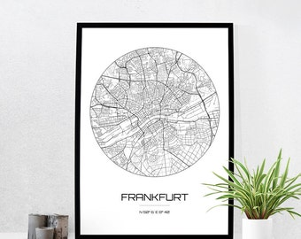 Frankfurt Map Print - City Map Art of Frankfurt Germany Poster - Coordinates Wall Art Gift - Travel Map - Office Home Decor