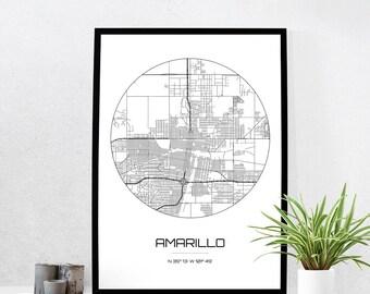 Amarillo Map Print - City Map Art of Amarillo Texas Poster - Coordinates Wall Art Gift - Travel Map - Office Home Decor