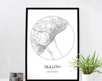 Duluth Map Print - City Map Art of Duluth Minnesota Poster - Coordinates Wall Art Gift - Travel Map - Office Home Decor