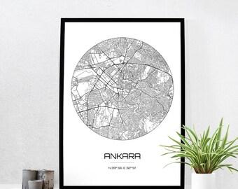 Ankara Map Print - City Map Art of Ankara Turkey Poster - Coordinates Wall Art Gift - Travel Map - Office Home Decor