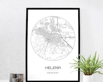 Helena Map Print - City Map Art of Helena Montana Poster - Coordinates Wall Art Gift - Travel Map - Office Home Decor