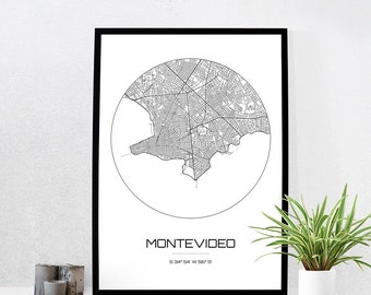 Montevideo Map Print - City Map Art of Montevideo Uruguay Poster - Coordinates Wall Art Gift - Travel Map - Office Home Decor