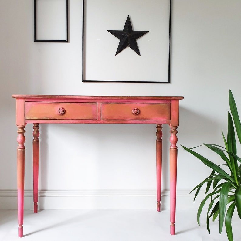 hot sale online 4727a ffef3 Bohemian Pink Hallway Boho Painted Side Console Table