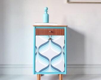 Vintage Retro Harris Lebus Blue Decoupaged Mid Century Bedside Cabinet