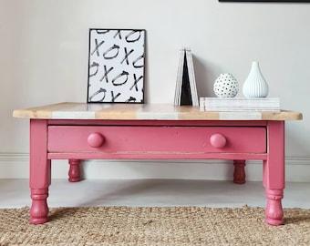 Farmhouse Pine Persian Pink Large Coffee Table Rustic Nautical